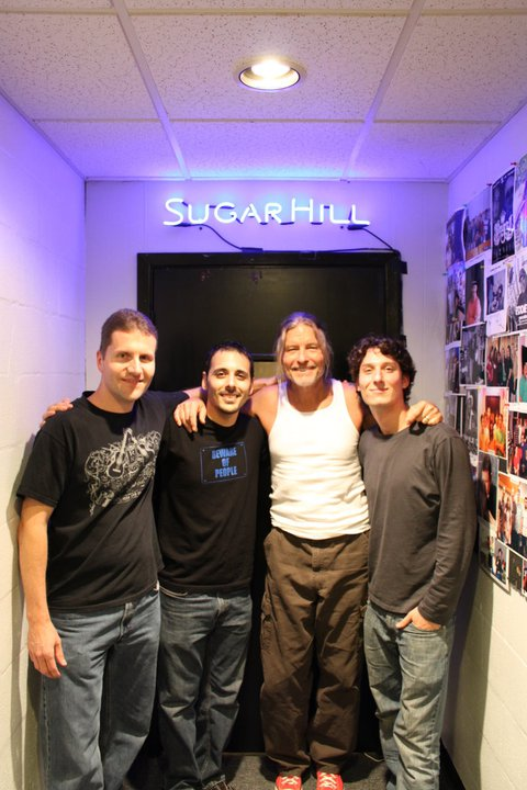 LIH Sugar Hill Recording Session. From left to right: Rob Iutzwig (LIH), Tyson Sheth (Drums), Mark Andes (Bass), and Nicholas Patronella (Sound Engineer).